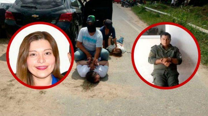 Arresto. Los sospechosos contra el piso. Uno es la ex candidata a concejal Soledad Rodríguez.