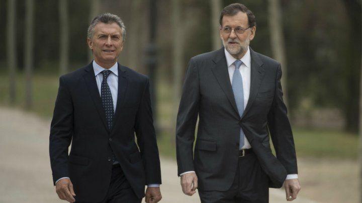 Jardín de la Moncloa. Rajoy y Macri