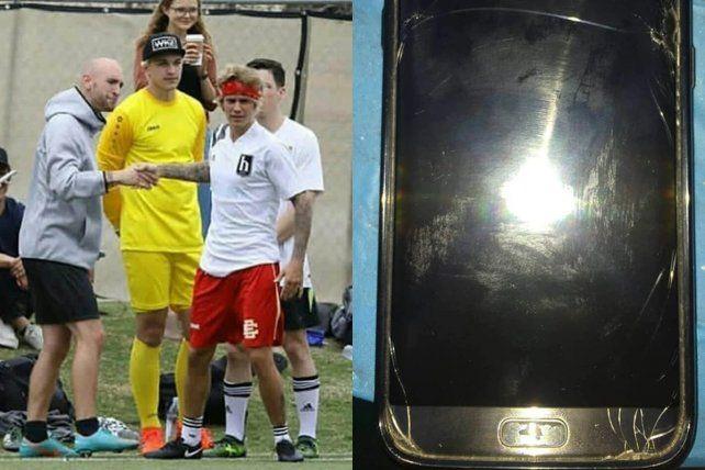 <b>Así quedó. </b>El celular del argentino cayó al piso y se rompió tras el empujó del canadiense.