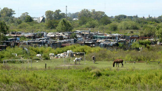 Uno de los asentamientos precarios del sur del Gran Rosario.