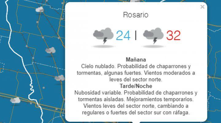 Se renovó el alerta meteorológico por tormentas fuertes para Rosario