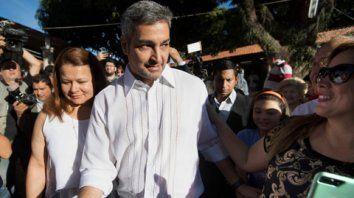 ganador. Mario Abdo Benítez al llegar a su mesa electoral. El candidato se impuso por escaso margen.