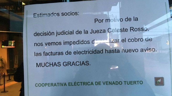 Una cooperativa de Venado Tuerto se niega a cobrar las facturas de luz