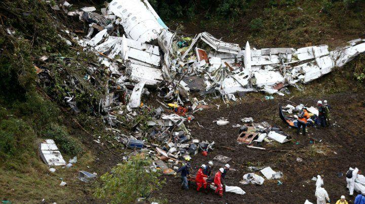 Los restos del avión que no alcanzó a aterrizar en el aeropuerto de Medellín el 28 de noviembre de 2016.