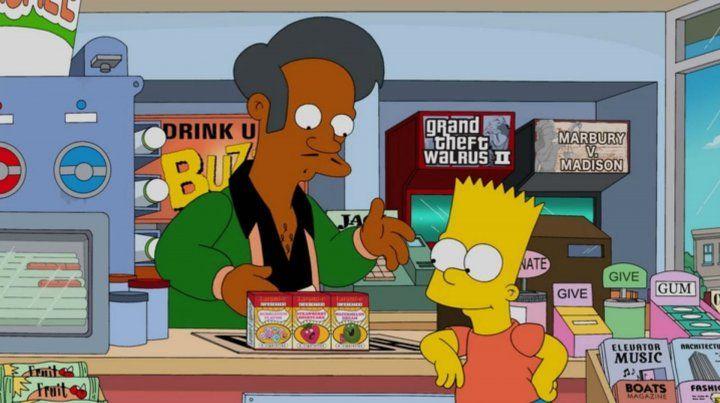 Ofensivo. Apu junto a Bart. El personaje indio genera polémica en EEUU.