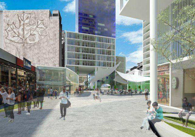 Patio central. El proyecto contempla un paseo peatonal público que atraviesa la manzana.