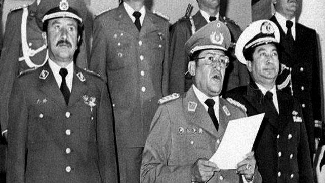 Poder militar. García Meza (centro) junto a la cúpula militar durante el sangriento y breve gobierno.