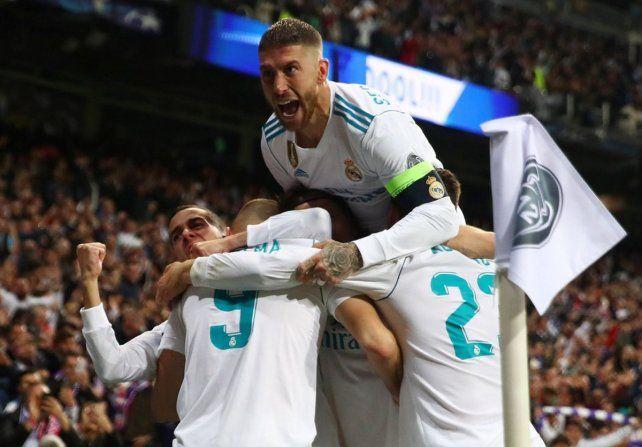 Grito de gol. El festejo alocado de Sergio Ramos luego de una de las conquistas de Benzema.