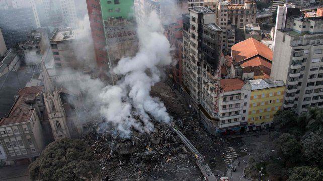 El edificio colapsado en San Pablo.