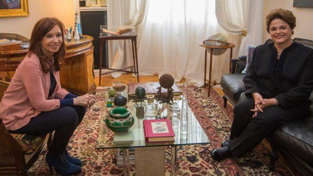 Cristina recibió en su casa a la expresidenta de Brasil