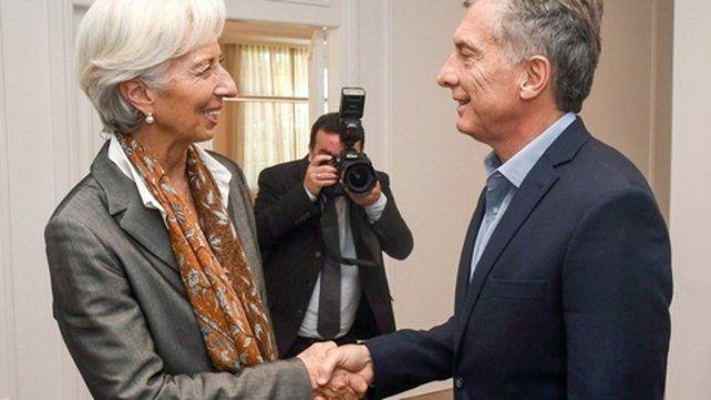 saludo. Lagarde y Macri
