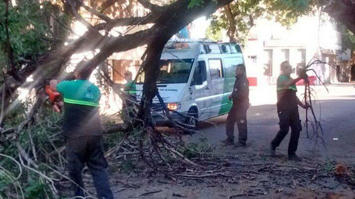 Personal de Defensa Civil trabajaba esta mañana en distintos puntos de la ciudad.
