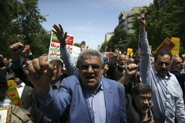 Bronca. En Teherán hubo marchas de protesta contra Estados Unidos