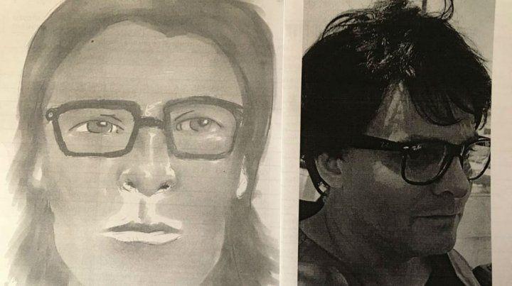 Casi iguales. El fotofit del agresor de Peyrano y el abogado Alejandro Mercado al ser detenido en Córdoba.