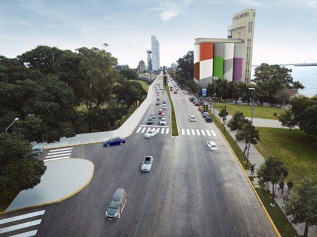 ¿De maqueta a realidad? El render del municipio  permite ver cómo quedará la llegada desde el norte y el giro a la  derecha por bulevar Oroño.
