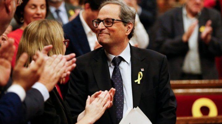 satisfecho. Quim Torra luego de su discurso ante el Parlamento. Hoy será ungido nuevo presidente catalán.