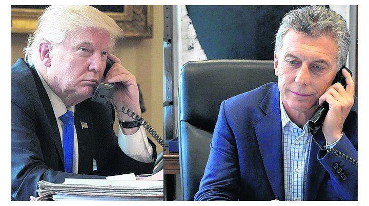 la llamada. Trump manifestó ayer su apoyo a Macri telefónicamente.