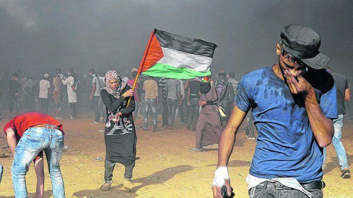 Confrontación fronteriza. Palestinos manifiestan contra Israel