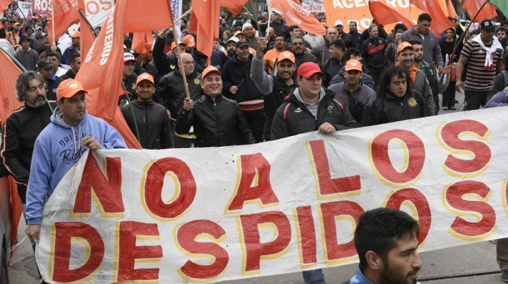 Emblema. El conflicto de Cargill concentró la solidaridad de los gremios durante el acto por el 1º de Mayo.