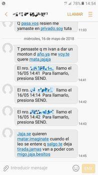 violencia de género. Los mensajes que recibió la víctima.
