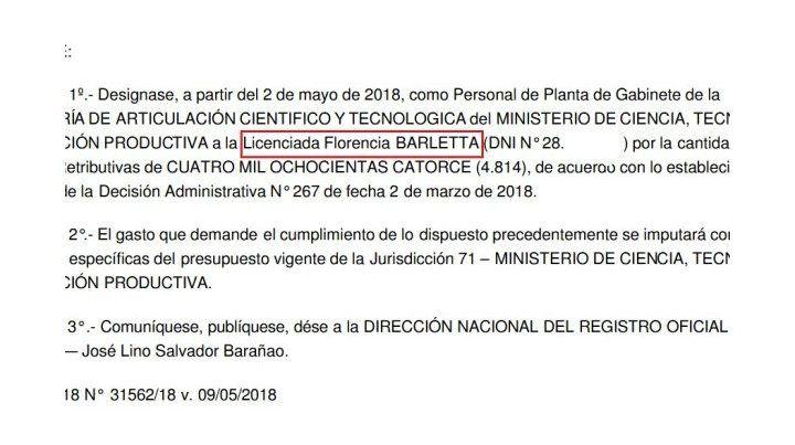 Polémica por el nombramiento de la hija de Barletta