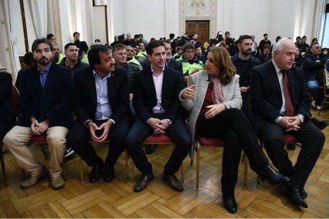 Lifschitz, Fein y Diego Leone durante la presentación de la nueva urbanización.