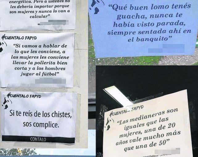 visibilización. Pegaron carteles en la Facultad de Arquitectura.