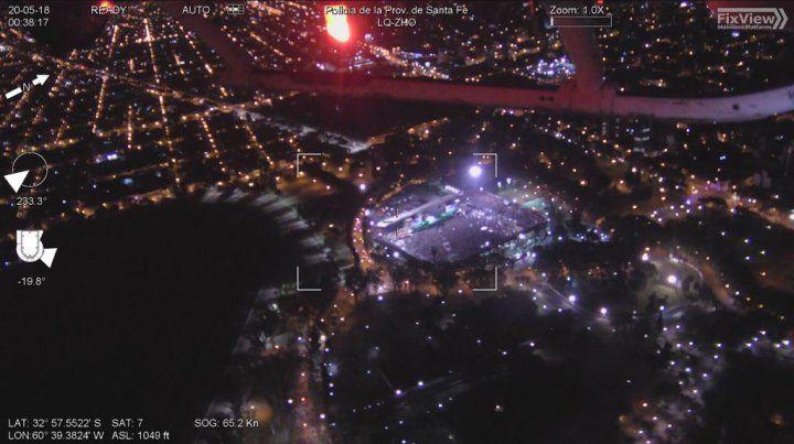 Las imágenes aéreas del show de La Renga y una visita especial en el Coloso