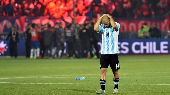 Marcherano se agarra la cabeza tras perder la final de la Copa América 2015 ante Chile.