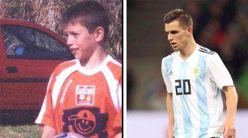 Antes y después. Lo Celso en su infancia y en la actualidad, tras cumplir su sueño con Argentina.