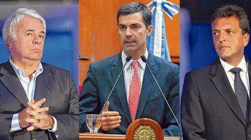 Candidatos. De la Sota, Urtubey y Massa, las caras del peronismo para intentar volver al poder.