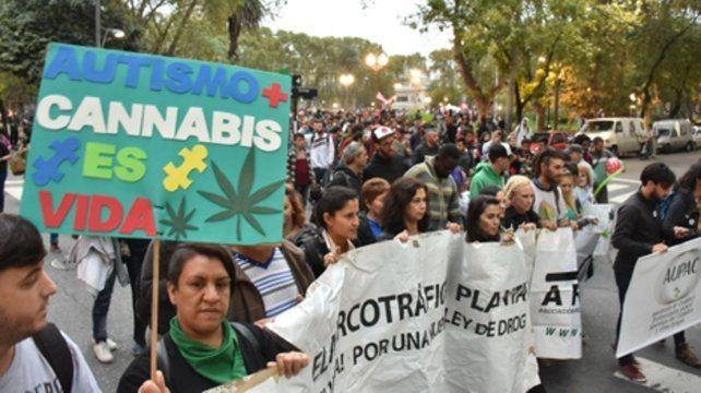 Una de las tantas marchas que se realizaron en Rosario para pedir por el uso terapéutico del cannabis.