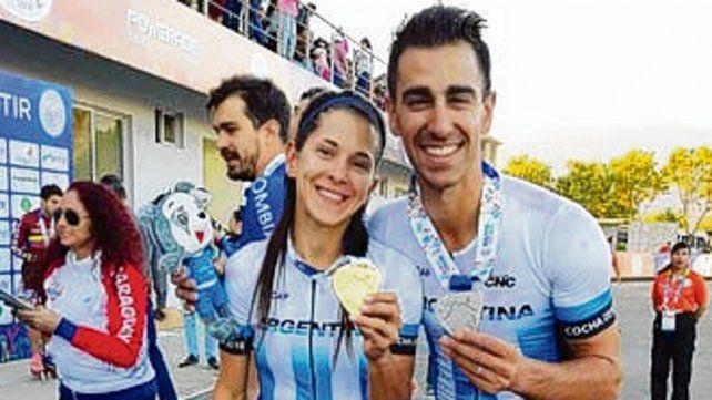 Medallistas. Berbel y su novio Araldi.
