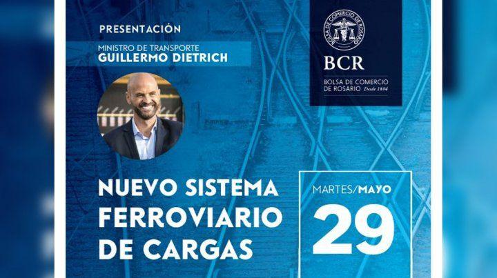Dietrich presenta en Rosario el nuevo sistema ferroviario de cargas