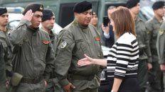 A patrullar. La ministra de Seguridad de la Nación, Patricia Bullrich, ayer, en el destacamento de Gendarmería.