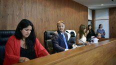 El juez Manfrín junto a sus colegas Marisol Usandizaga y María Más Varela, durante el juicio a Los Monos.