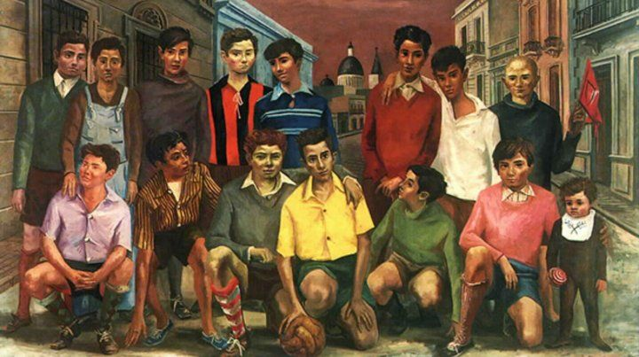 Team de fútbol o Campeones de barrio. El óleo de 1954