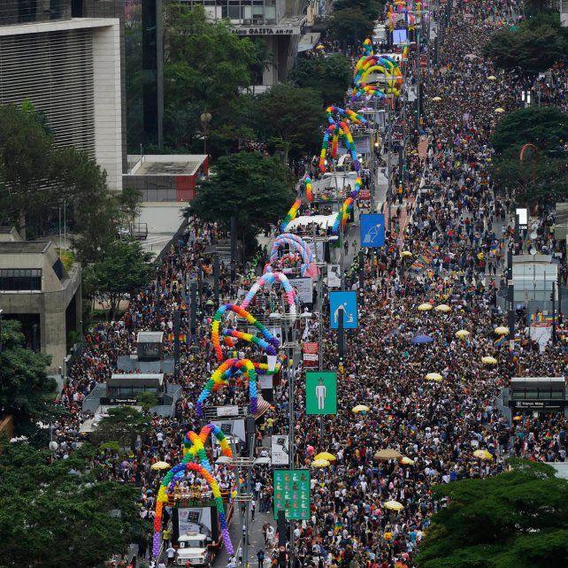 Fiesta en la avenida Paulista.