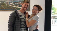 Cristián Ansaldi con su esposa.
