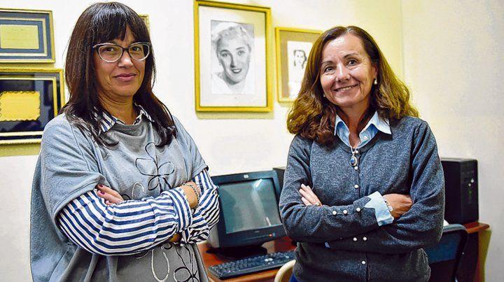 La supervisora de superior María Fernanda Foresi y la rectora del IES 28