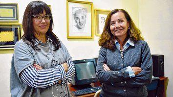 La supervisora de superior María Fernanda Foresi y la rectora del IES 28, Andrea Monserrat.
