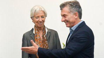 Sonrientes. Christine Lagarde, titular del Fondo Monetario Internacional, y el presidente Mauricio Macri.