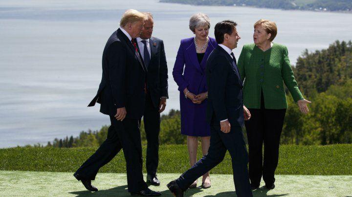 La tradicional foto de grupo del G-7 en La Malbaie