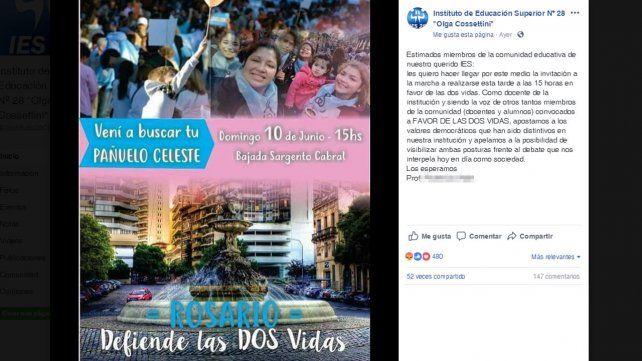 Polémica. La invitación a la marcha cursada vía Facebook.