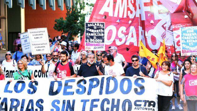Amsafé, Sadop y los universitarios encabezarán las marchas del jueves en Rosario
