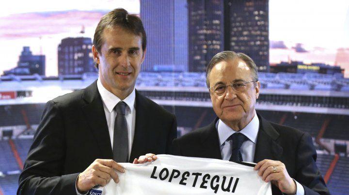Lopetegui y Pérez con la camiseta del Madrid.
