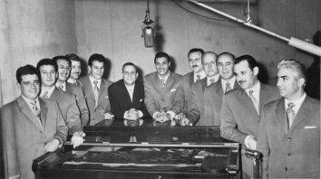 La orquesta de Domingo Federico en su debut en LT8, en 1958.