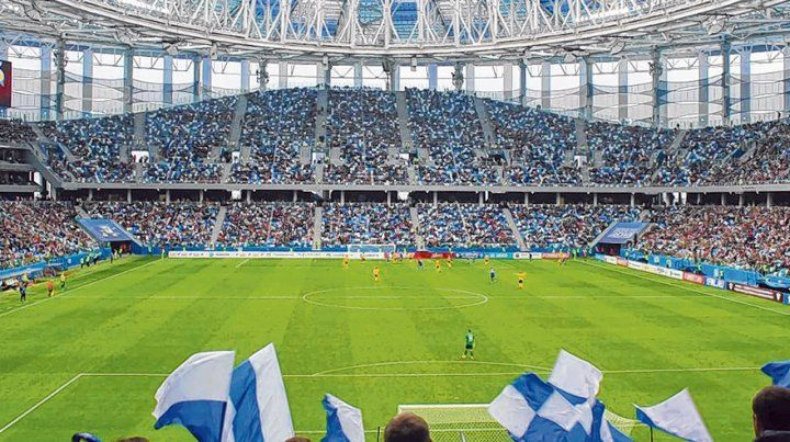 Escenario. El estadio Nizhni Nóvgorod es uno de los siete construidos desde cero y especialmente para el Mundial.