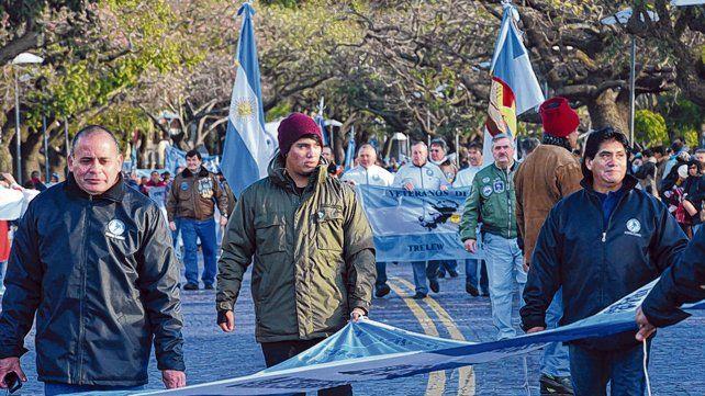 Ex combatientes. Los veteranos de la guerra de Malvinas ya son un clásico de la celebración.