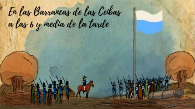 Un video animado recrea el paso de Belgrano por Rosario